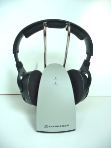 Senheiser RS 120 on charger base 1 P1090664 225x300 The Best Home Wireless Headphones Sennheiser RS 120 & RS 180