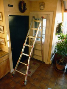 Megalite 7 ft step ladder Flat To Wall P1100864 225x300 Best Home Ladder: Little Giant Alta One 17 & Megalite   Rock Solid, Lighter, Adapts To Every Job